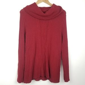 Jeanne Pierre   Red Cowl Neck Knit CottonSweater